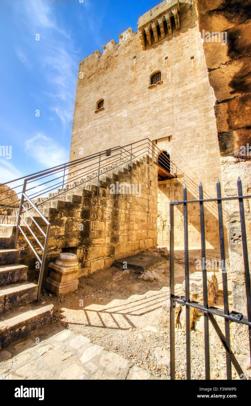A view of the entrance of the medieval castle of Kolossi. It is situated in the south of Cyprus, in Limassol. The - Stock Image