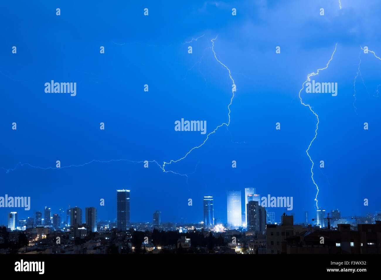 Lightning over a Tel aviv city - Stock Image