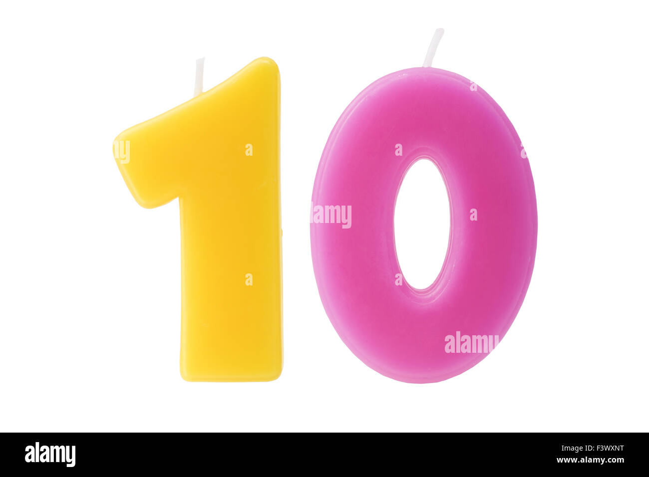Colorful birthday candles in the form of the number ten on white background - Stock Image