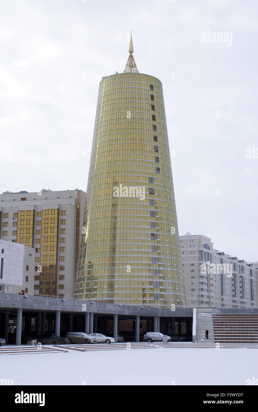Golden tower in Astana - Stock Image