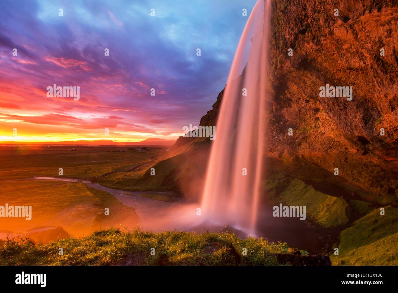 Seljalandsfoss waterfall south coast of Iceland - Stock Image
