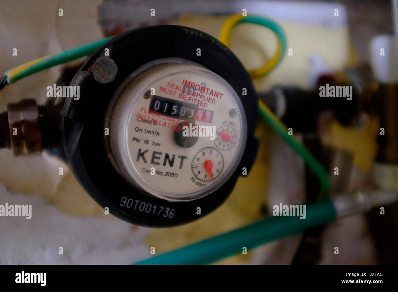 Water meter in shed outhouse Southern Water England UK Scotland Wales Northern Ireland - Stock Image