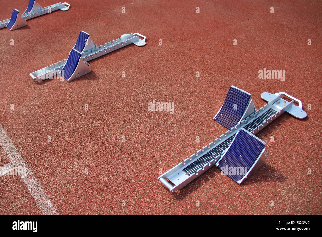 athletics starting blocks - Stock Image