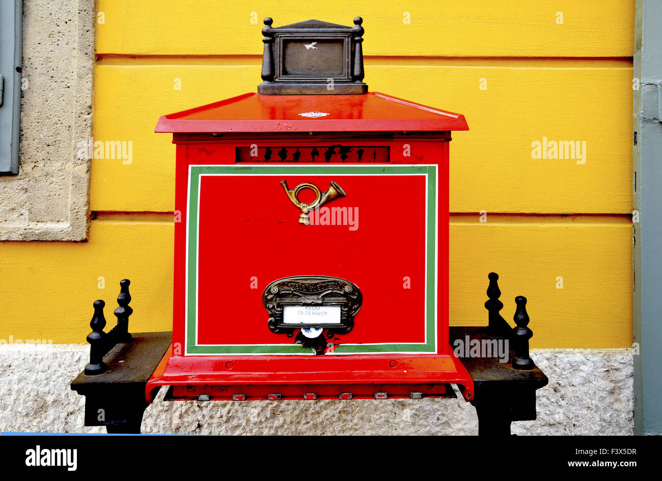 Mailbox of the Hungarian Post in Budapest. Stock Photo