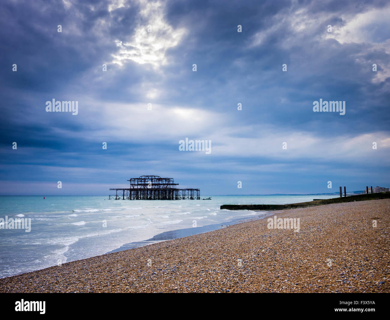 The remains of West Pier at Brighton and Hove, East Sussex, England. - Stock Image