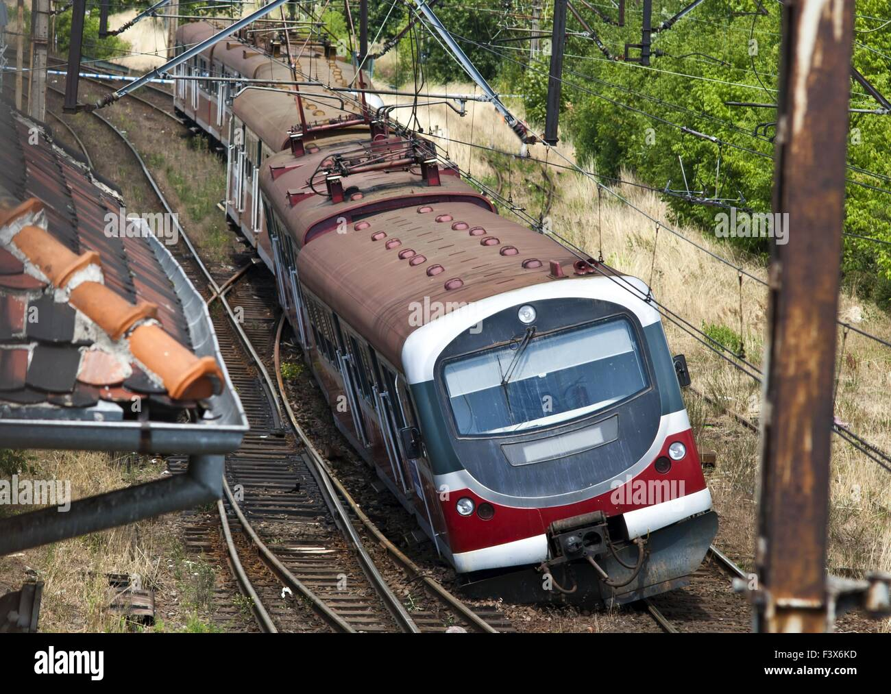 Derailed electric multiple unit (EMU) - Stock Image