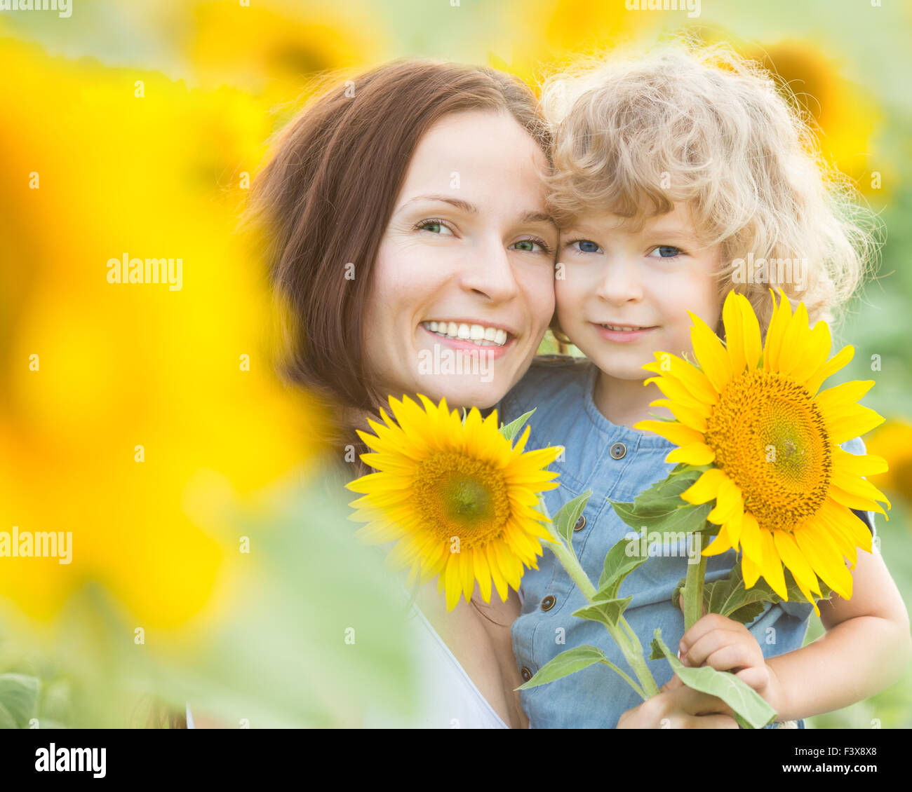 Happy family with beautiful sunflowers Stock Photo