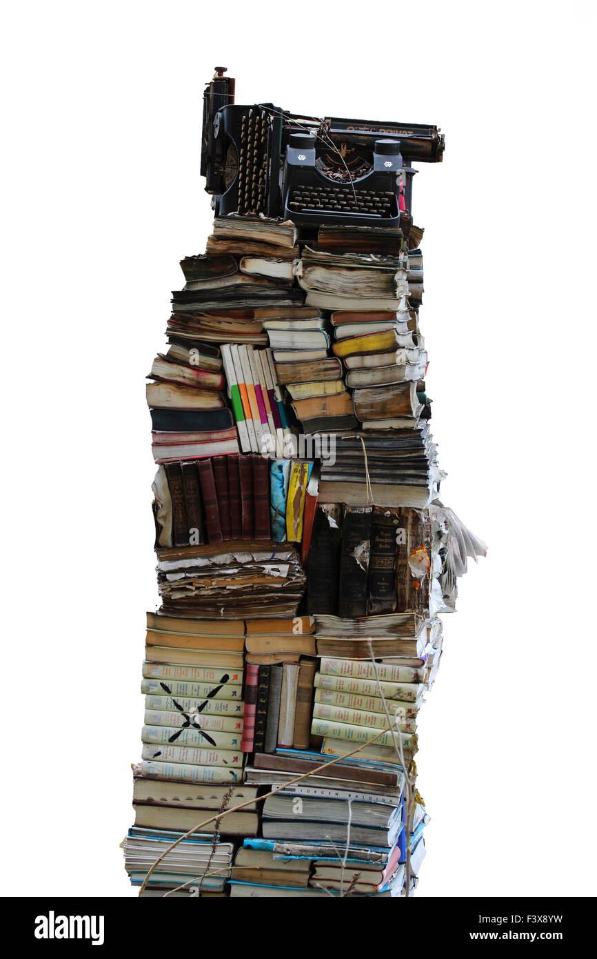 books and typewriter Stock Photo