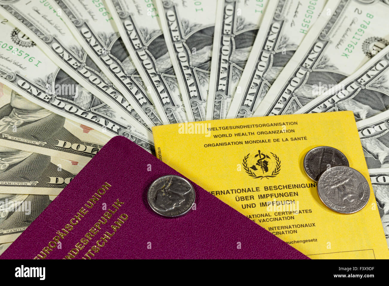 dollar and passport Stock Photo
