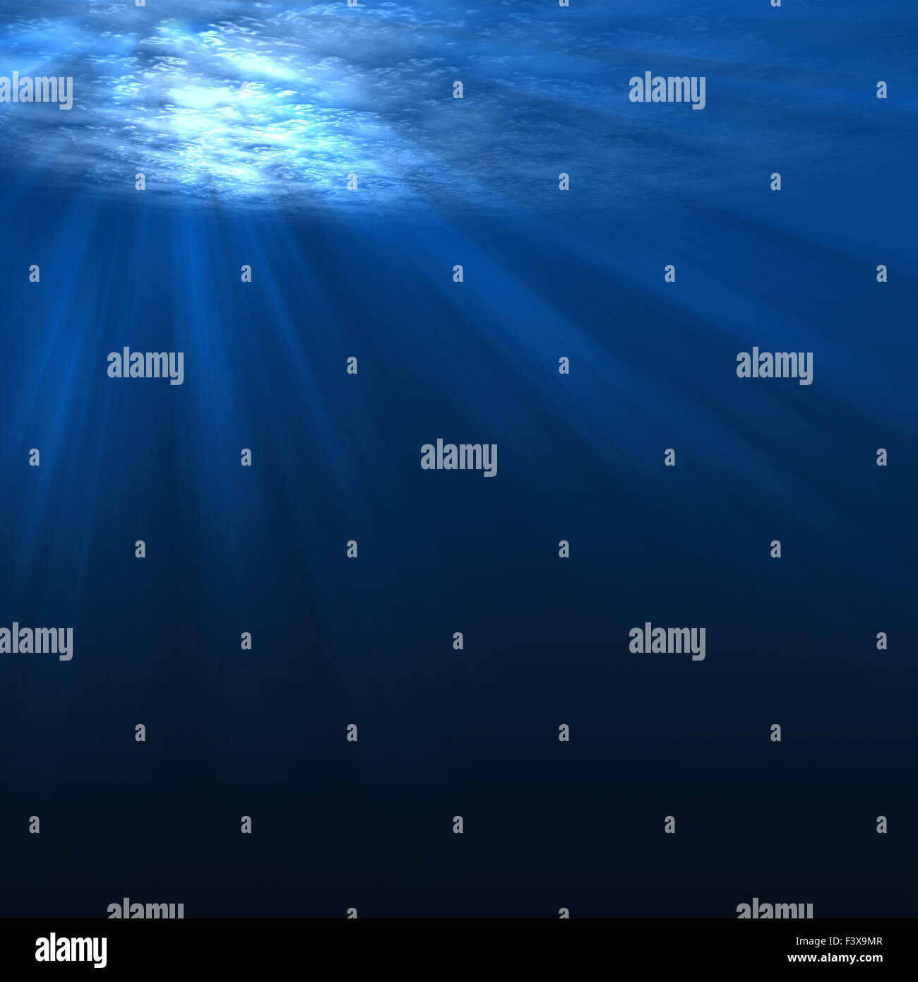 Underwater scene with rays of light - Stock Image