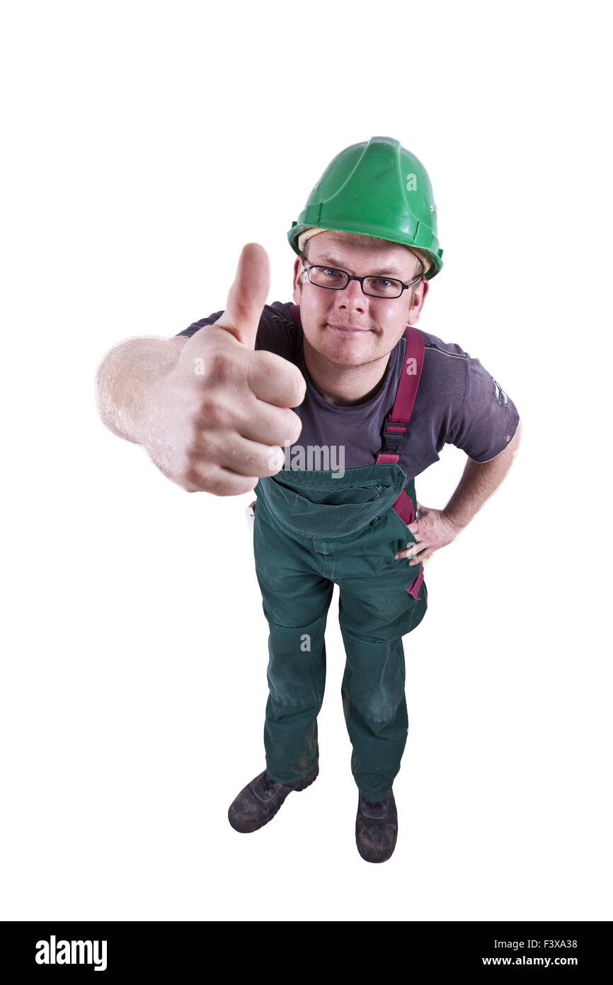 Construction worker thumbs up Stock Photo
