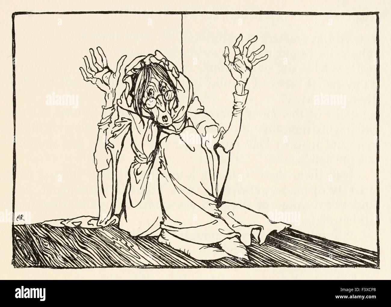 The Hag sat against the wall, from 'Morgan's Frenzy' in 'Irish Fairy Tales', illustration by - Stock Image
