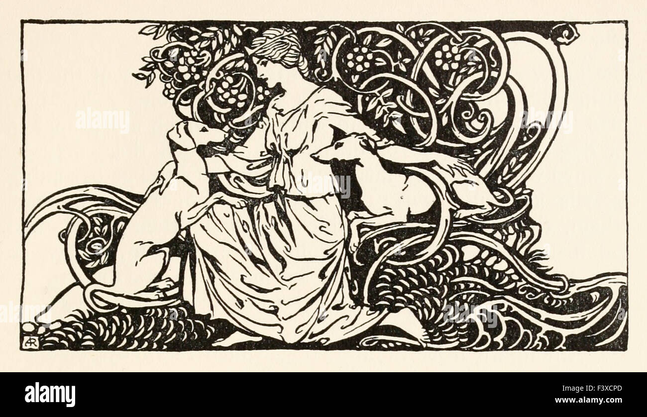 Tuiren with Bran and Sceólan from 'The Birth of Bran' in 'Irish Fairy Tales', illustration - Stock Image