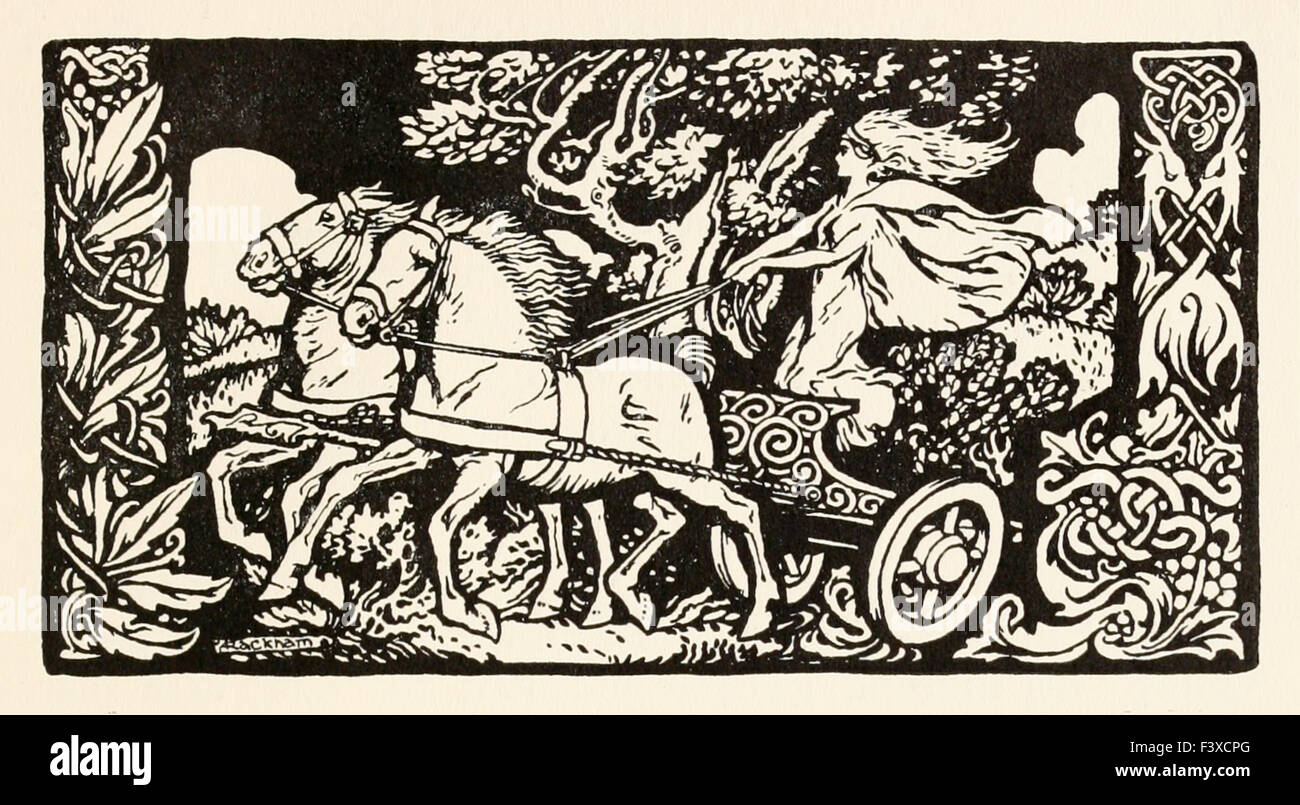 Becfola in her chariot from 'The Wooing of Becfola' in 'Irish Fairy Tales', illustration by Arthur - Stock Image