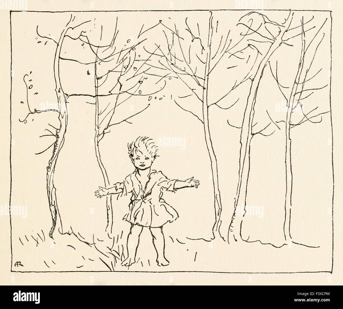 Fionn in the branchy wood from 'The Boyhood of Fionn' and 'Irish Fairy Tales', illustration by Arthur - Stock Image
