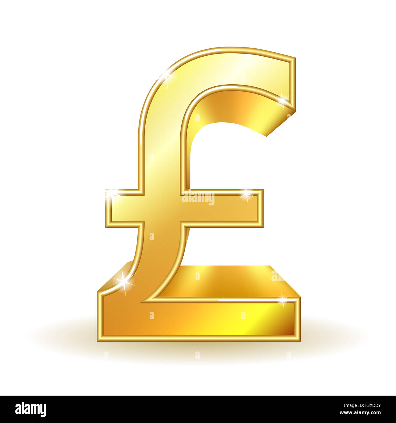 Gold sign pound currency. - Stock Image