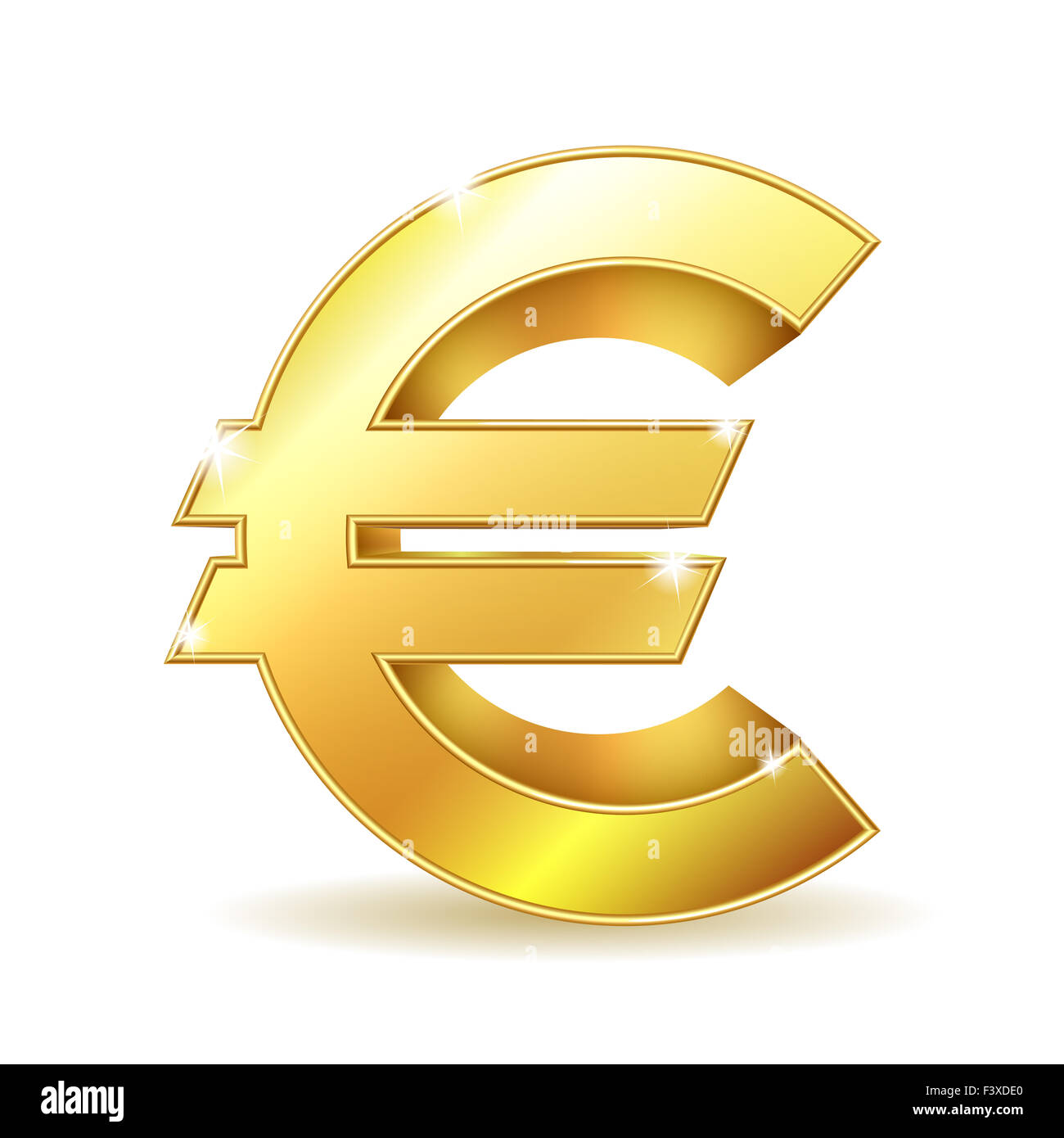 Gold sign euro currency. - Stock Image