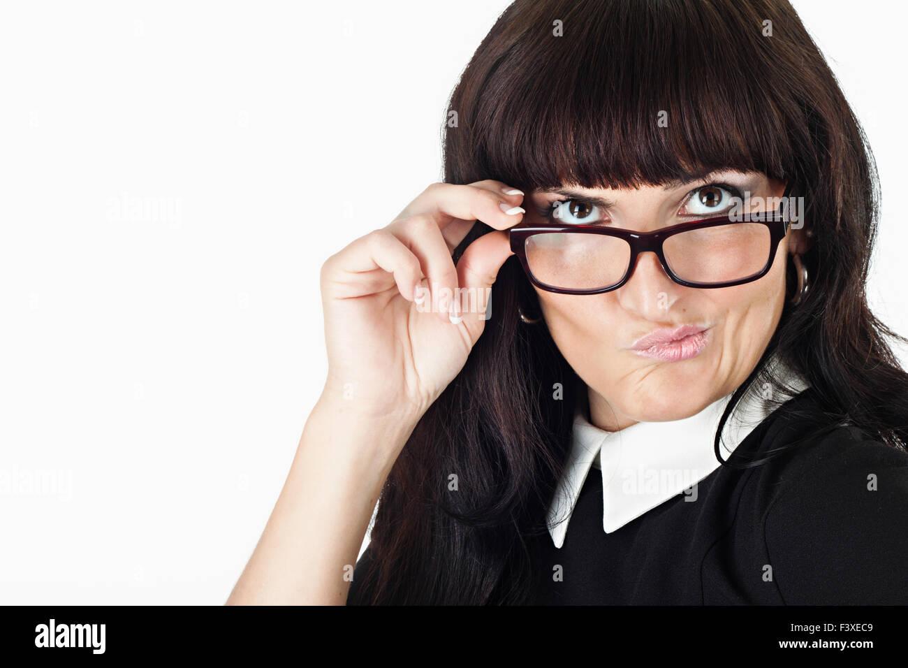 crazy beautiful woman wearing glasses Stock Photo