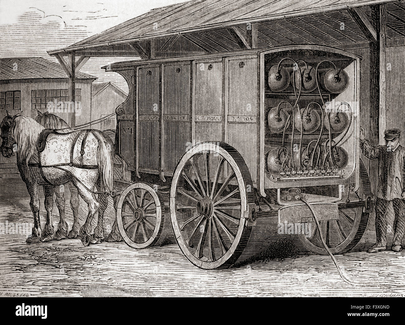 Horse drawn vehicle used to transport compressed gas in portable containers in the 19th century. - Stock Image