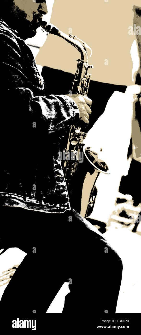 The Saxophonist III. - Stock Image