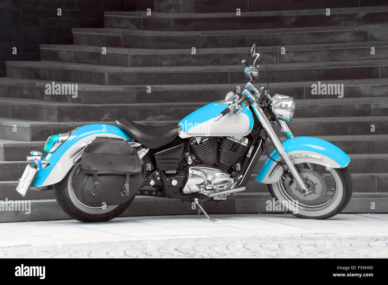 Motorbike in turquoise II. Stock Photo