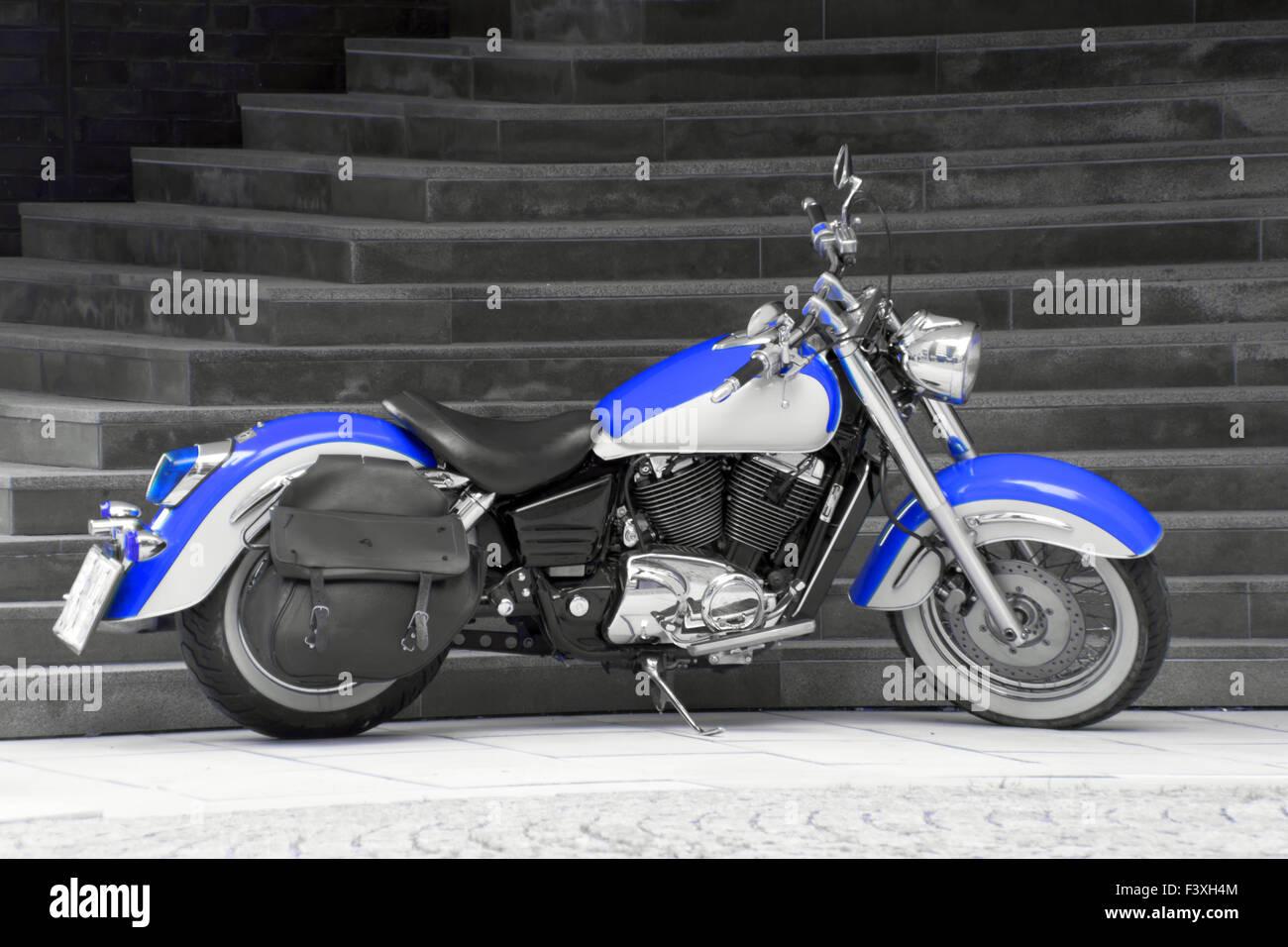 Motorbike in blue II. Stock Photo