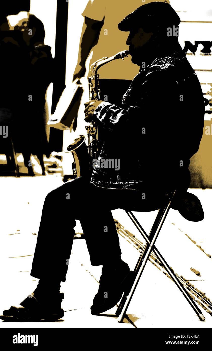 the saxophonist II. - Stock Image