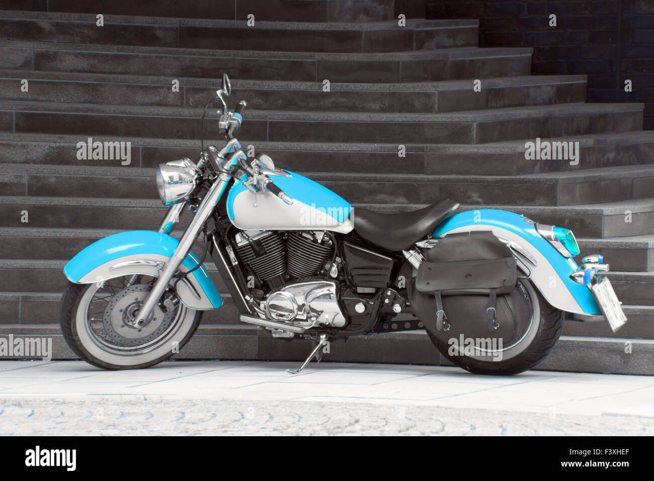 Motorbike in turquoise Stock Photo