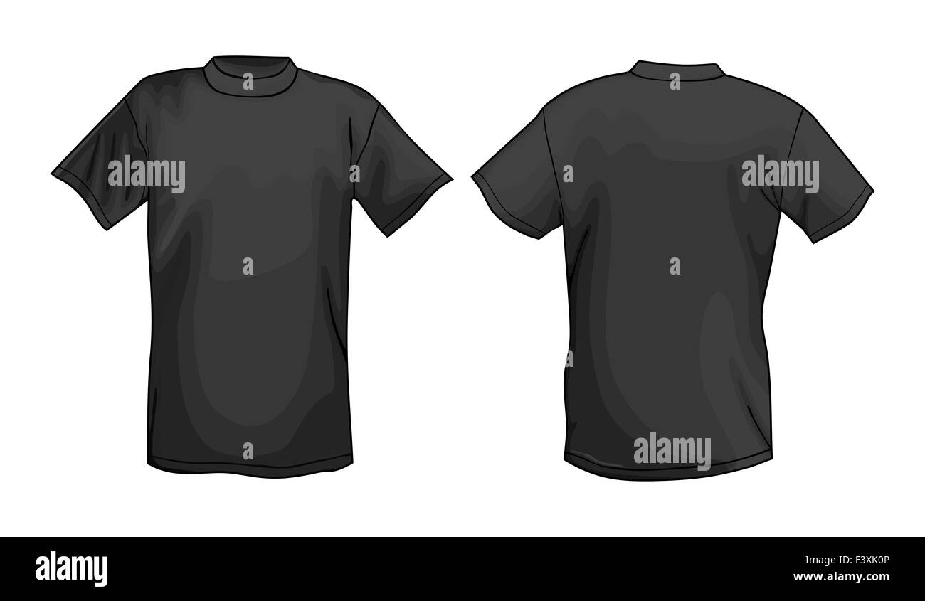 Black Tshirt Design Template Front Back Stock Photo Alamy - Cool t shirt design templates