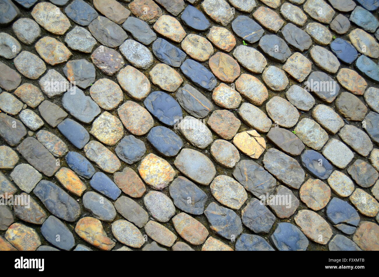 Cobbled Street Background - Stock Image