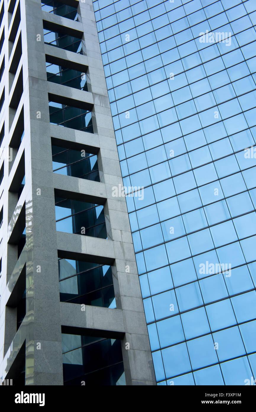 Blue glass panels - Stock Image