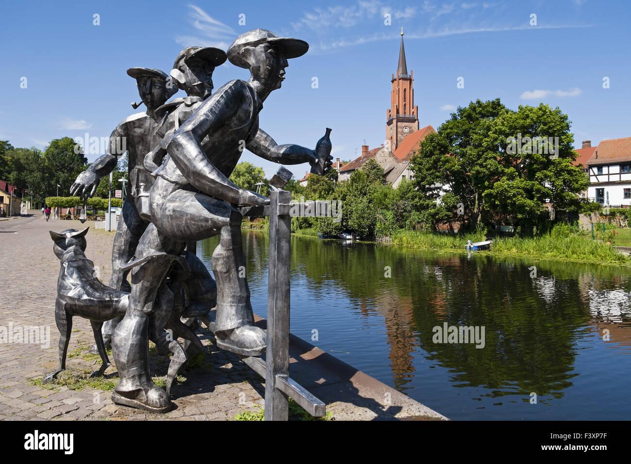 Sculpture Schleusenspucker, Rathenow, Germany Stock Photo