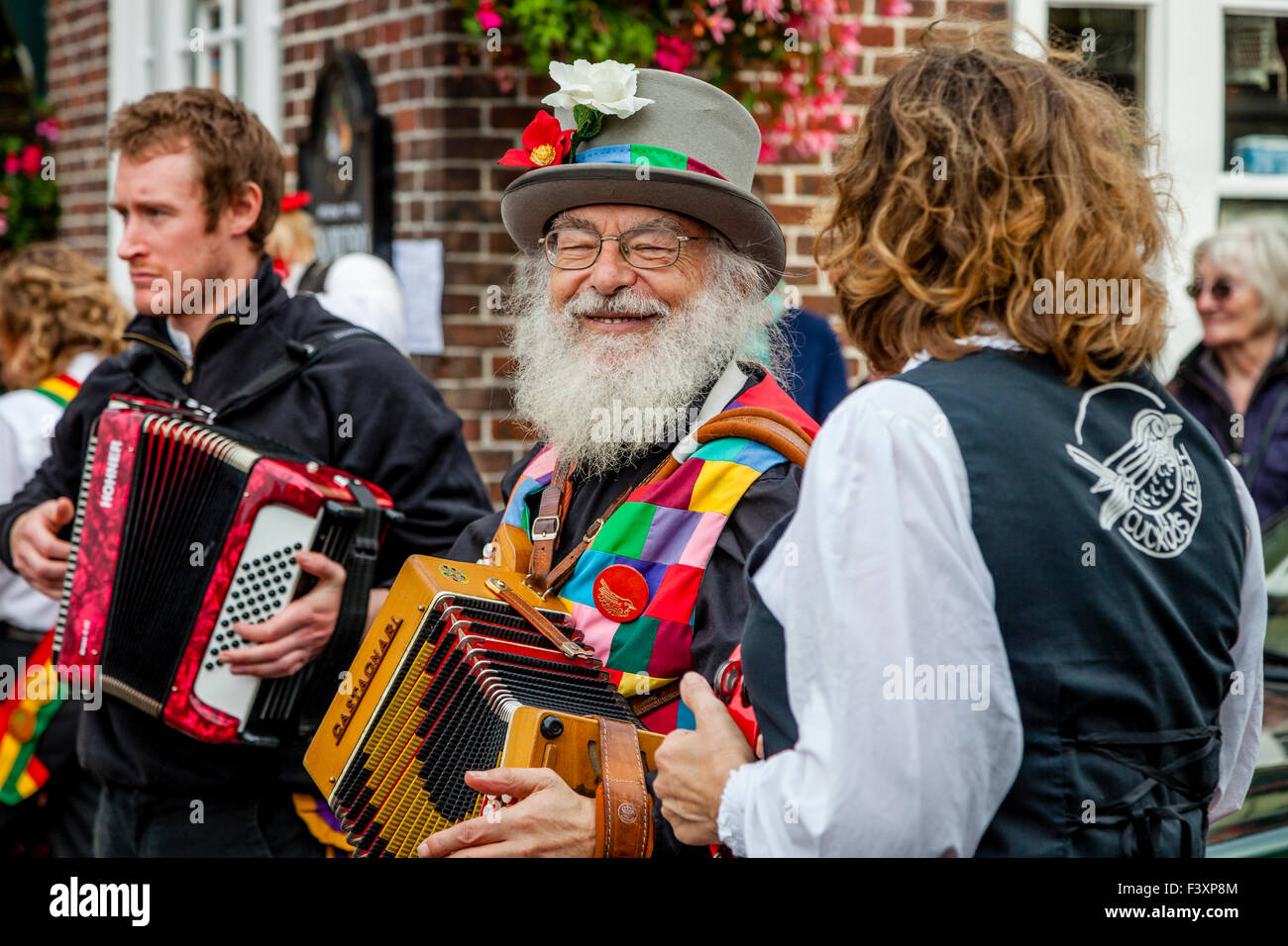 Morris Dancing Groups Performing In The Town of Lewes During The Towns Annual Folk Festival, Lewes, Sussex, UK - Stock Image