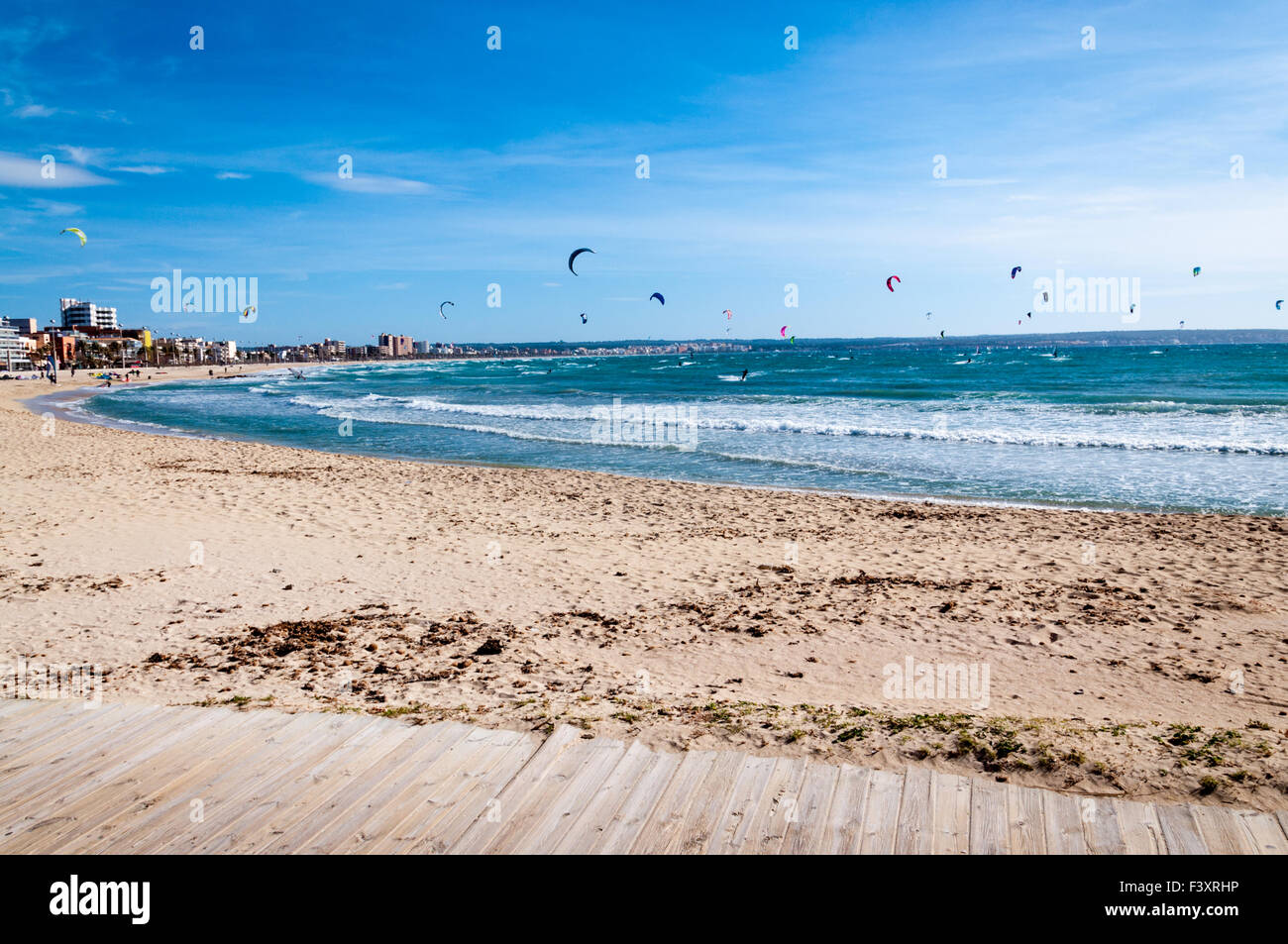 Kitesurfers in Playa de Palma in February - Stock Image