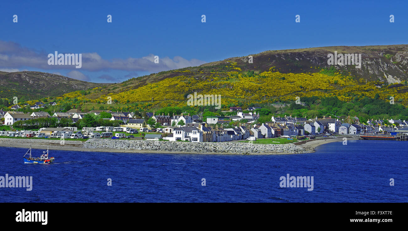 Ullapool Harbour in Spring - Stock Image
