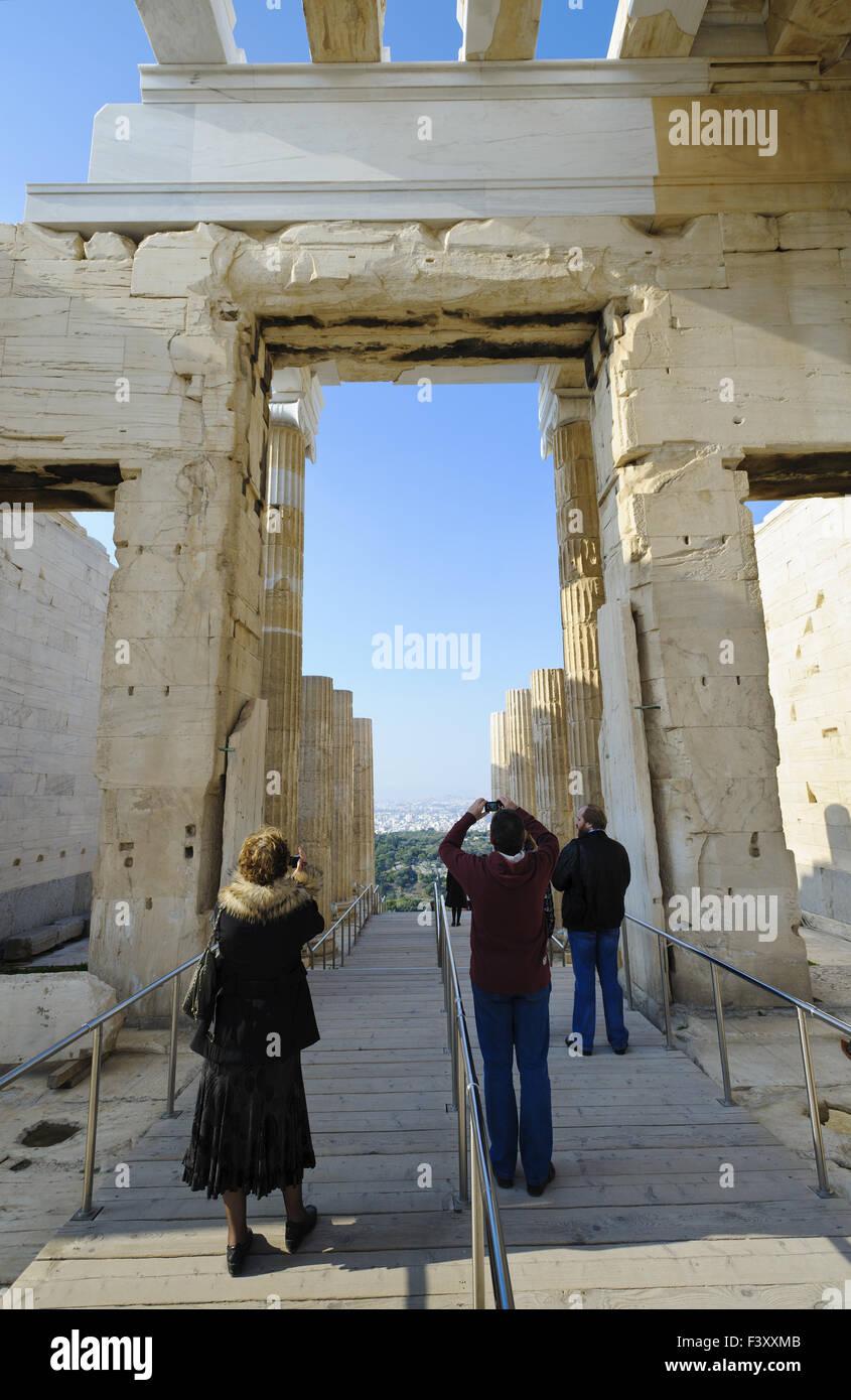 Propylaea, Acropolis, Athens, Greece - Stock Image