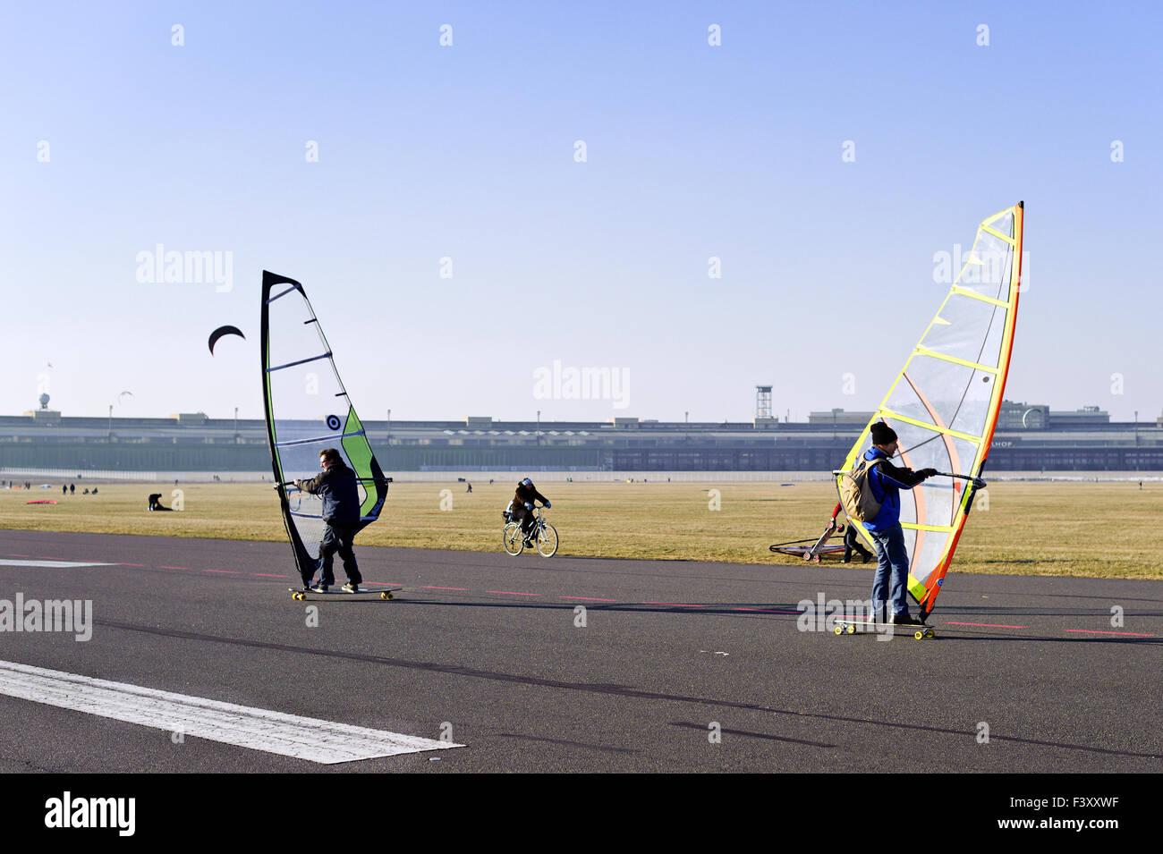 Windskaters at Tempelhof Park, Berlin - Stock Image