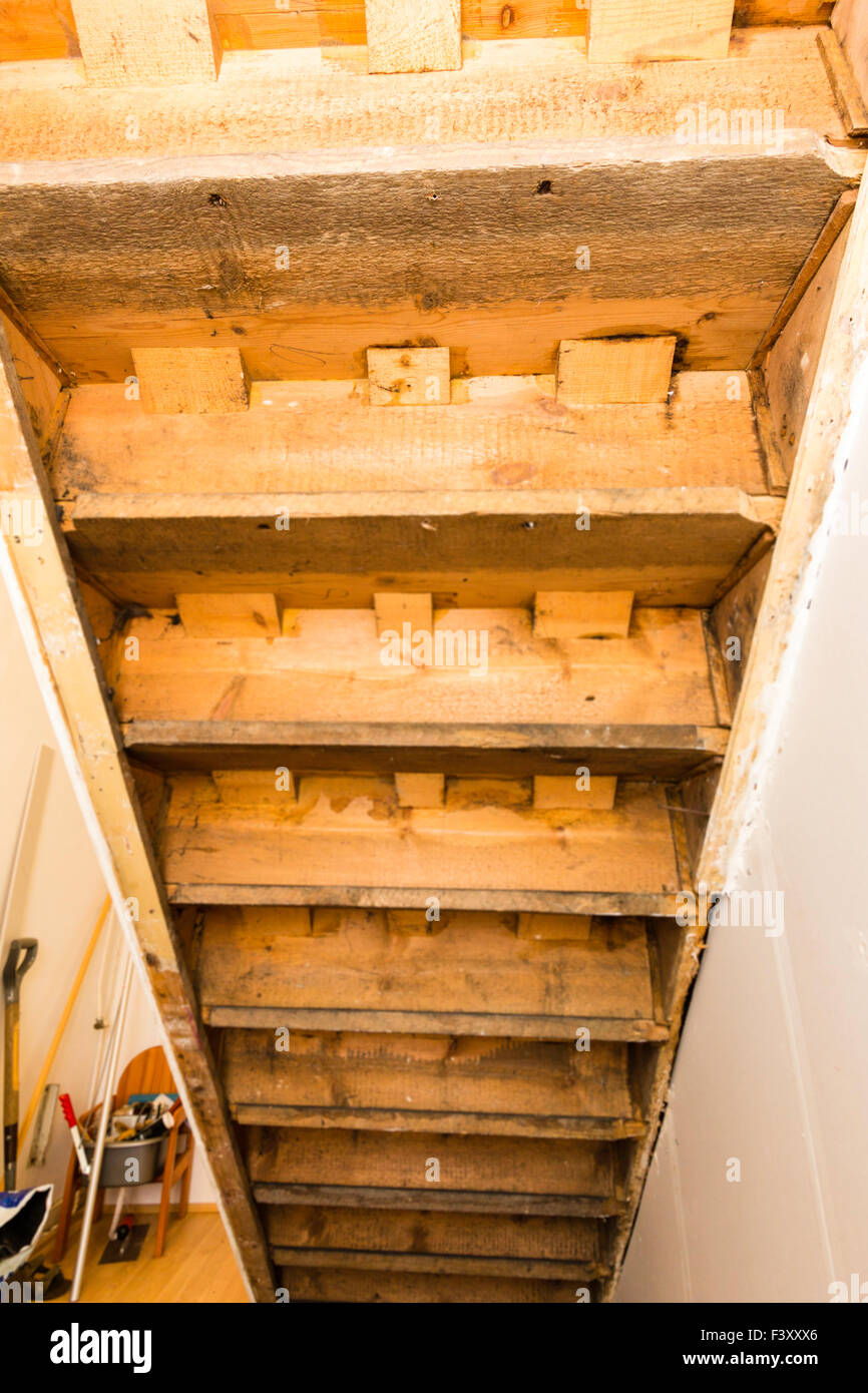 Victorian Staircase, Underside Showing Construction And Joinery Details    Stock Image