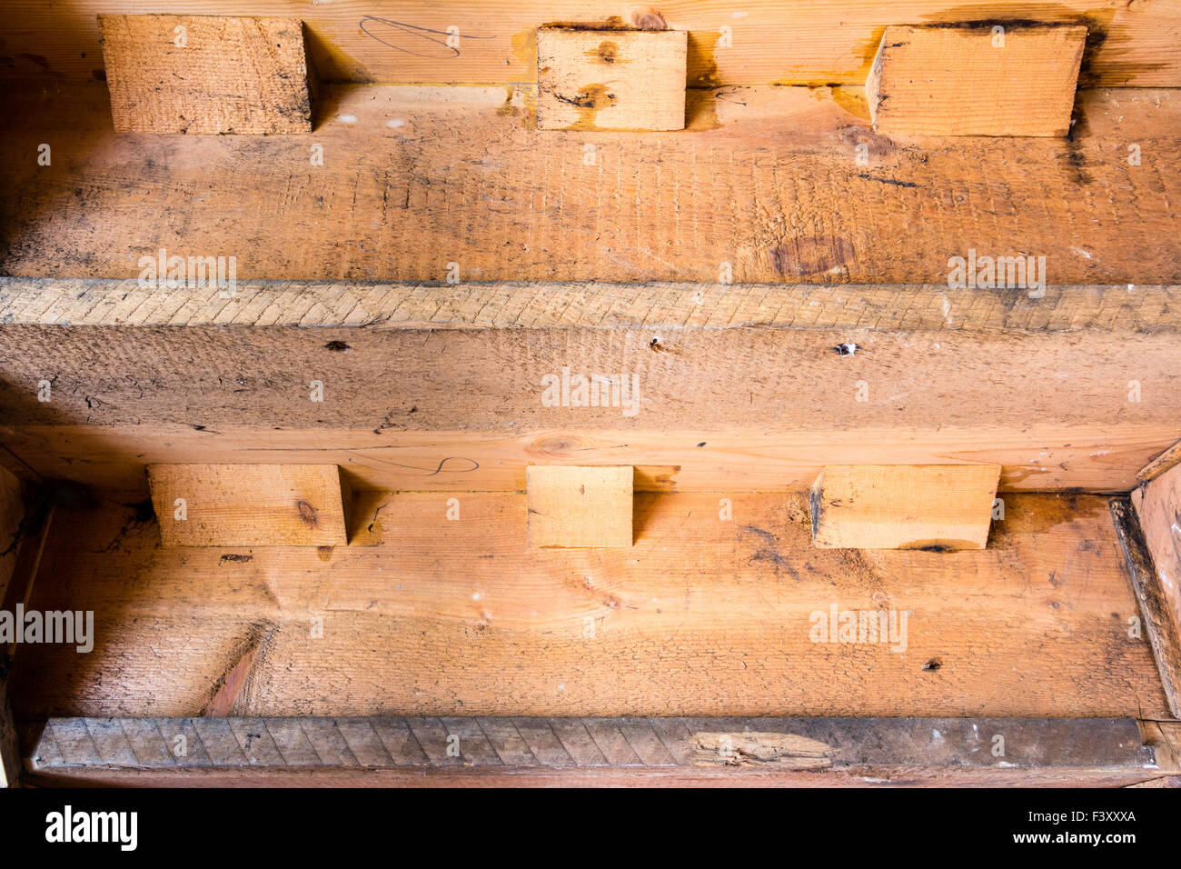 Victorian staircase, The underside of a Victorian staircase showing construction and carpentry joinery details. - Stock Image