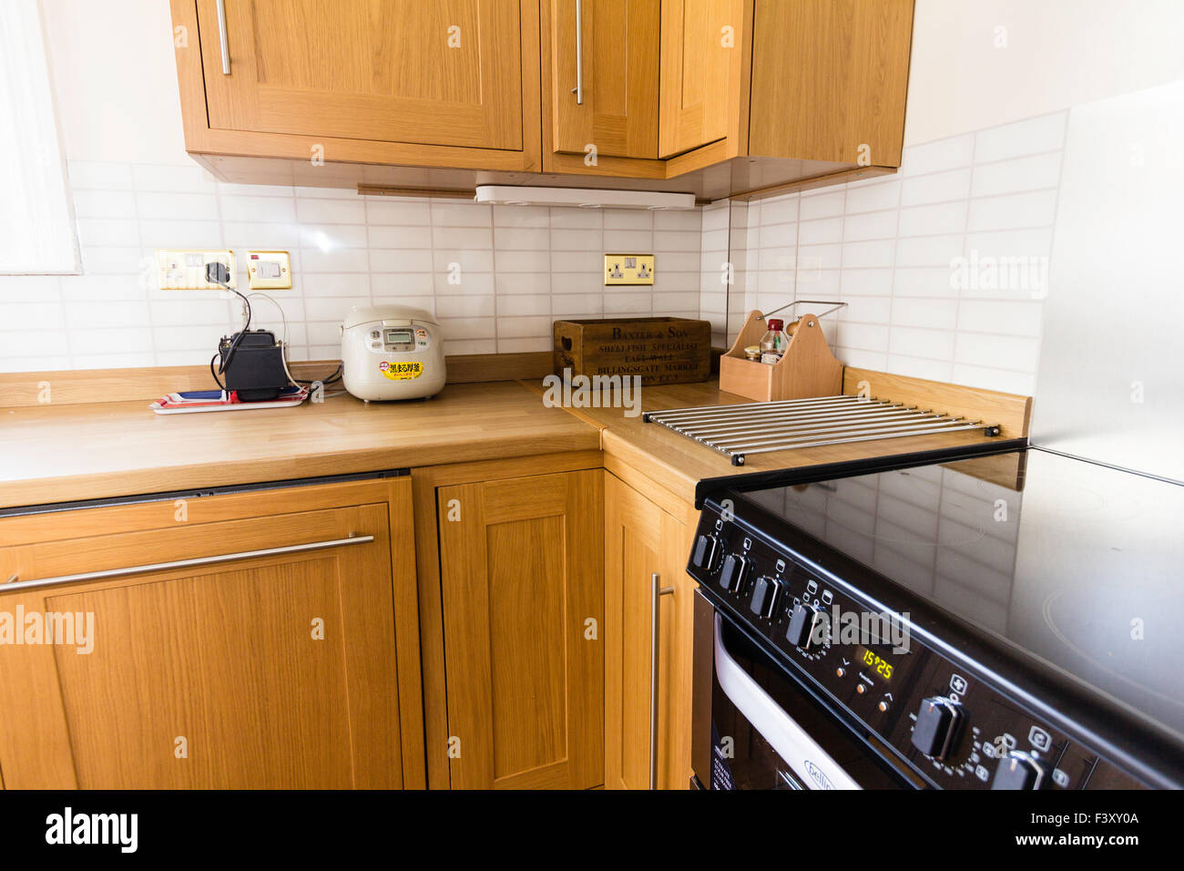 Newly Decorated Kitchen Wooden Cabinates Laminated Worktops And Stock Photo Alamy