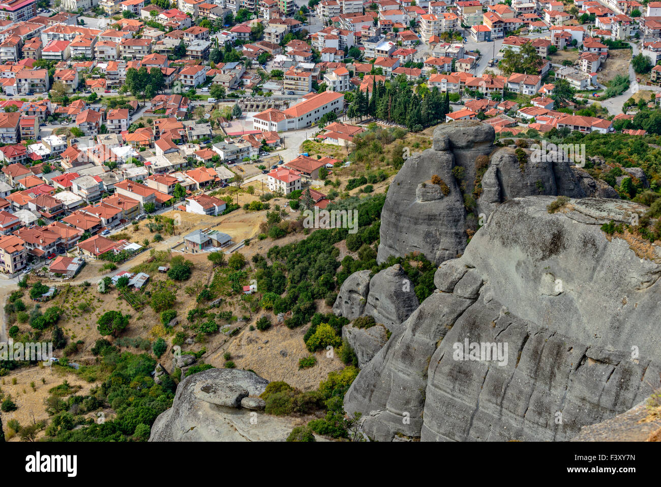 Aerial view of small town in Greece - Stock Image