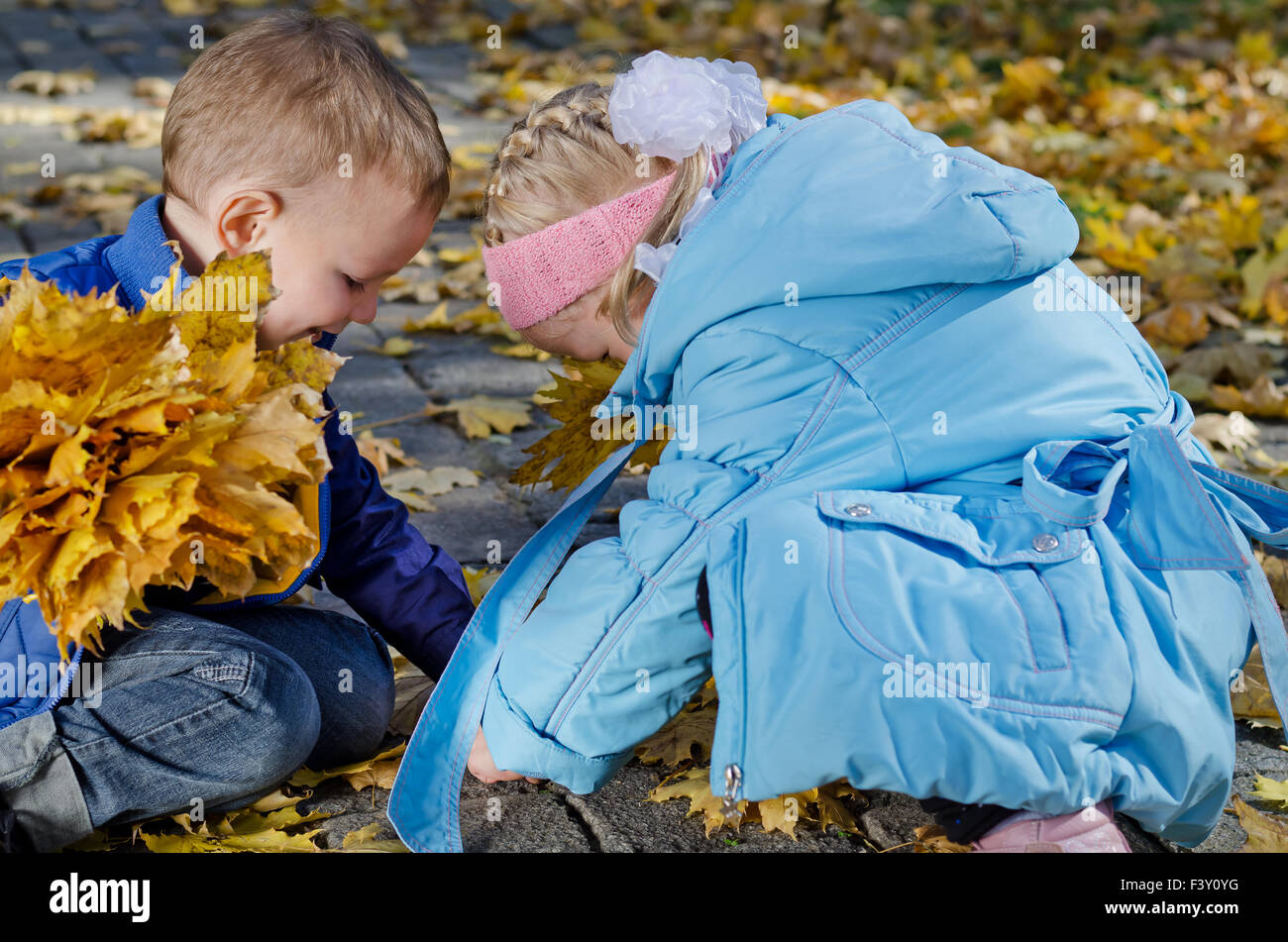 Children playing in autumn leaves - Stock Image