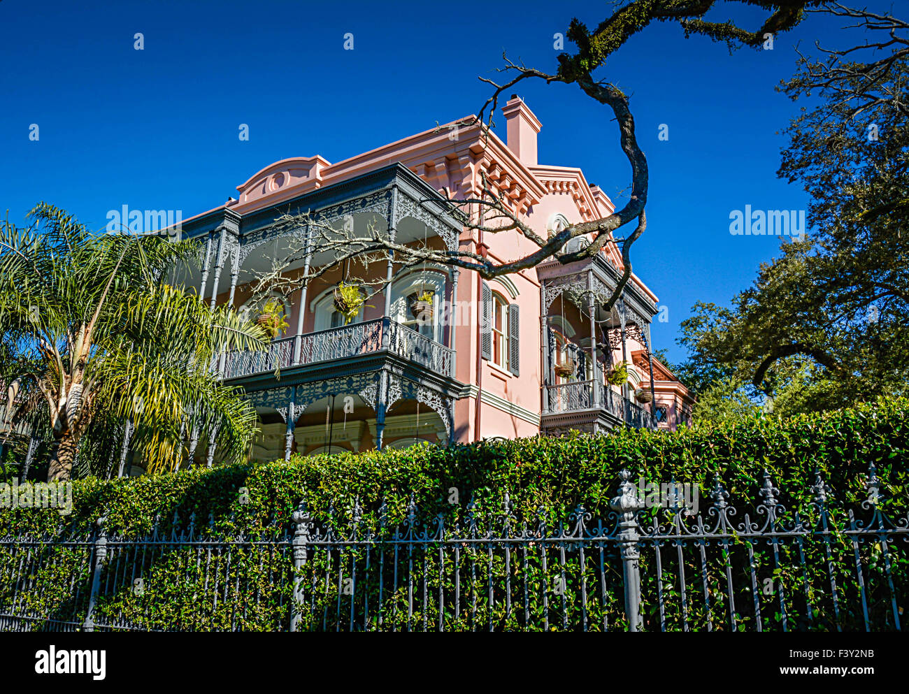 Superior The Beautifully Unique Pink Italianate Joseph Carroll House With Ornate  Iron Fencing In The Garden District In New Orleans, LA