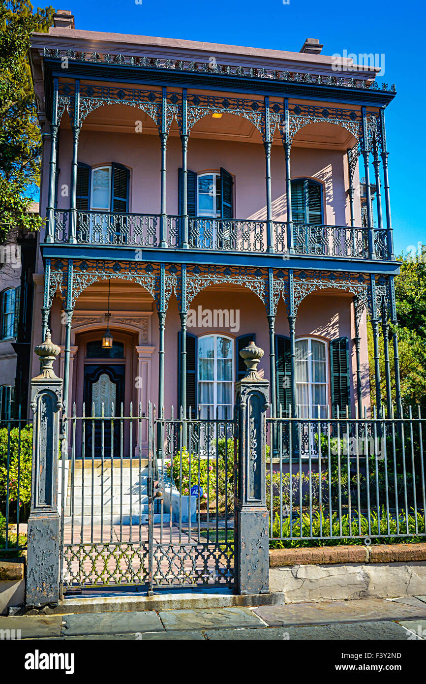 Wonderful The Beautifully Unique Pink Italianate Joseph Carroll House With Ornate  Iron Fencing In The Garden District In New Orleans, LA