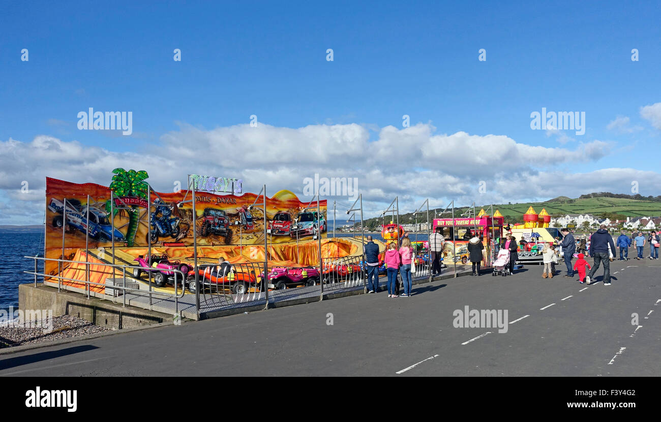 Buggy and car entertainment for children at Largs seafront in North Ayrshire - Stock Image