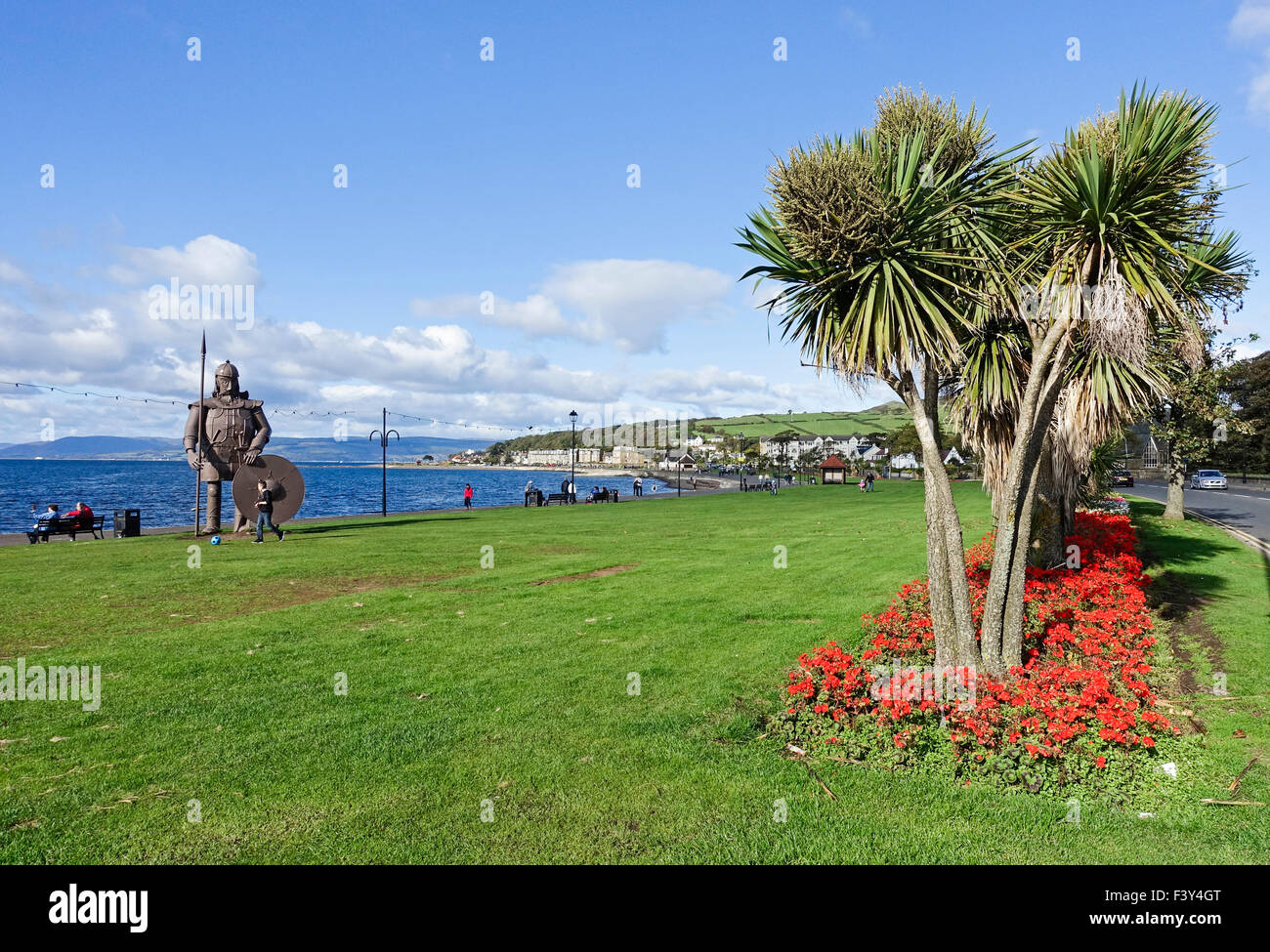 Statue of Magnus the Viking standing at the seafront in Largs North Ayrshire Scotland - Stock Image