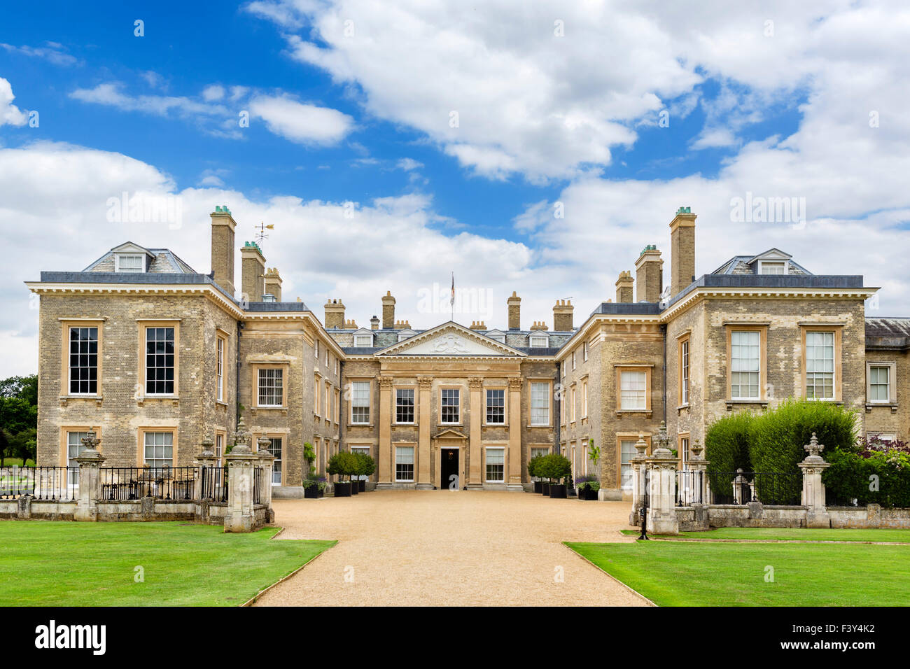 The front of Althorp house, seat of Earl Spencer and childhood home of Diana Princess of Wales, Northamptonshire, - Stock Image