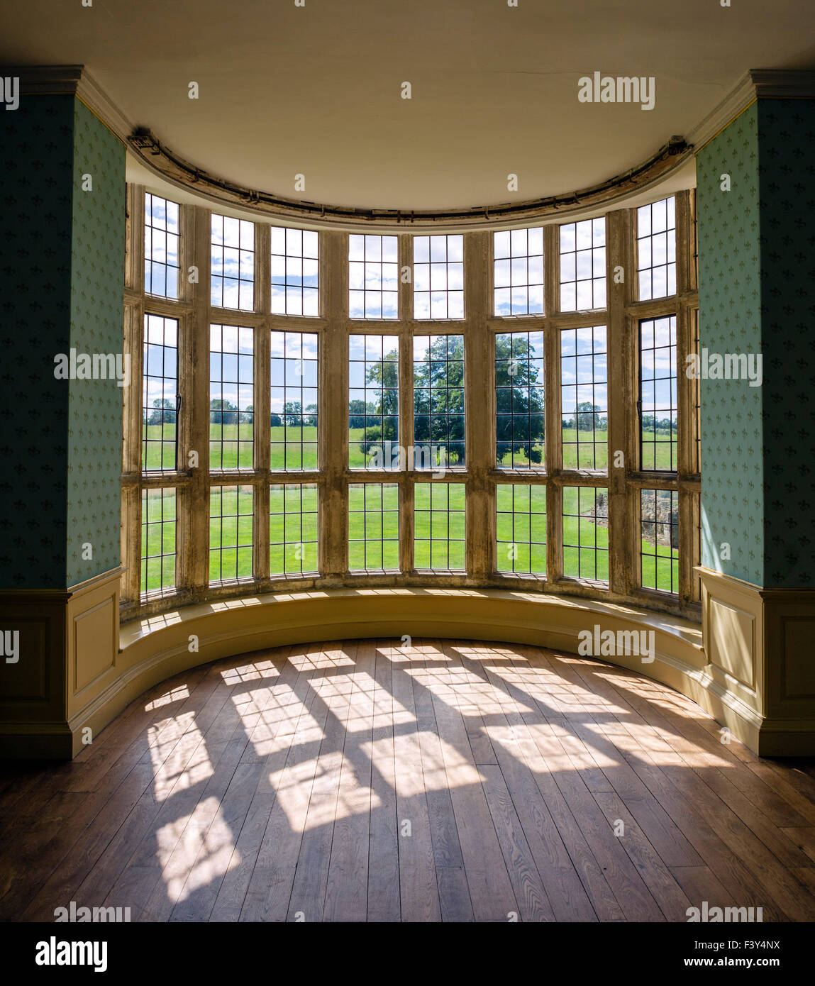 View from inside Kirby Hall, a now ruined 16thC Elizabethan country house near Gretton, Northamptonshire, England, - Stock Image