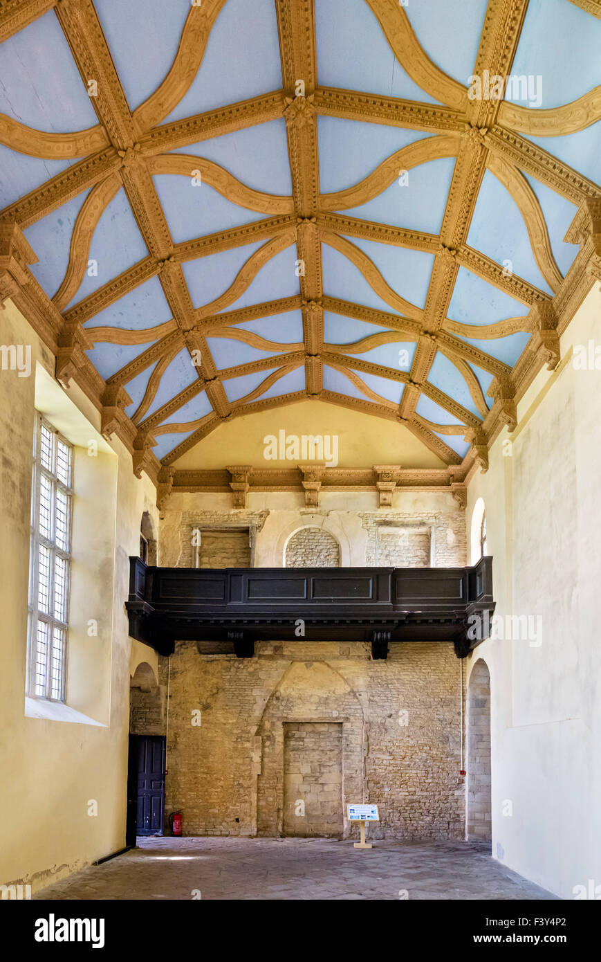 The Great Hall, undergoing renovation in Kirby Hall, a ruined 16thC Elizabethan country house nr Gretton, Northants, - Stock Image
