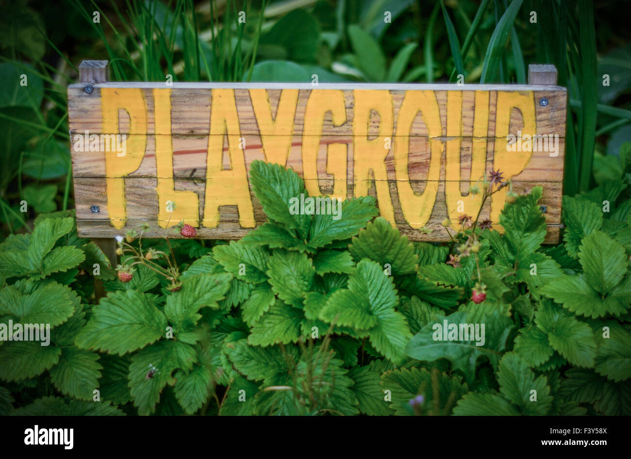 Rustic Sign For School Playgroup - Stock Image